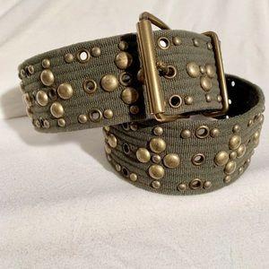 Calivin Klein Brass Studded Canvas wide belt
